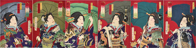 Toyohara Kunichika, 'Six Selected Actors: Sawamura Tossho III, Ichikawa Sadanji I, Nakamura Shikan IV, Onoe Kikugoro V, Nakamura Sojuro, Kawarasaki Sansho', 1873