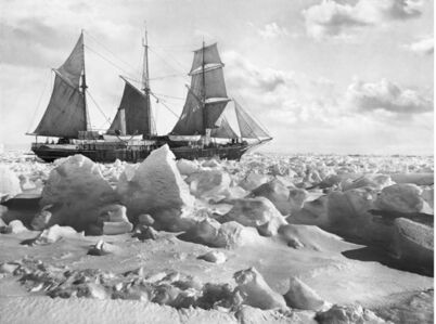 Frank Hurley, 'Endurance in full sail, in the ice (side view)', 1914-1917