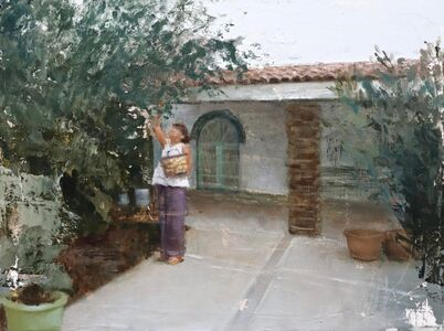 Nicolas V. Sanchez, 'Tia Rosalva picking apples', 2017