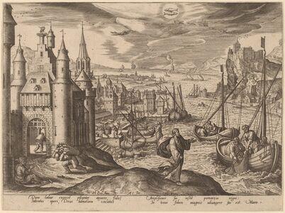Adriaen Collaert, 'Christ Calling Peter and Andrew (Pisces)', 1585
