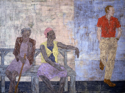 Leon Golub, 'Two Black Women and a White Man,', 1986