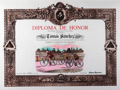 Álvaro Barrios, 'Diploma de Honor del Museo Duchamp del Arte Malo concedido a Tomás Sánchez en testimonio de ser considerado por esta institución como un artista perfectamente olvidable', 2011
