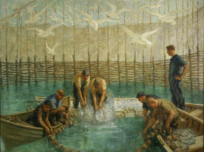 Francis Luis Mora, 'Seining of the Weir Net'