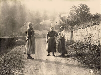 Léonard Misonne, 'Country Women Stopping to Converse on a Village Road in Belgium', 1943/1943