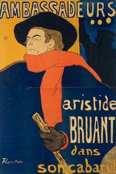 "Henri de Toulouse-Lautrec, 'Aristide Bruant, singer and composer, on a poster announcing his performance at the elegant night-club ""Les Ambassadeurs"" on the Champs Elysées, Paris', 1892"
