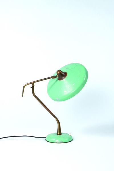 Oscar Torlasco, 'Table lamp in brass and metal', vers 1950