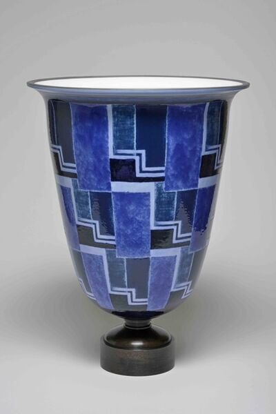 Sèvres Porcelain Manufactory, 'Ruhlmann N°2 Vase (decor of Line's Blue Checkerboard 34-32 01-2) ', 1932
