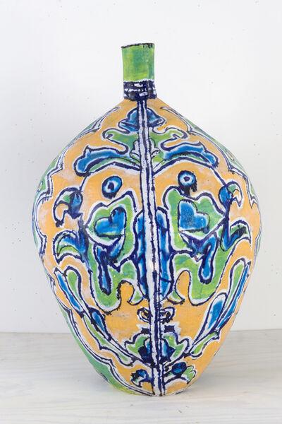Elisabeth Kley, 'Large Gold & Lime Leaf Face Bottle', 2009