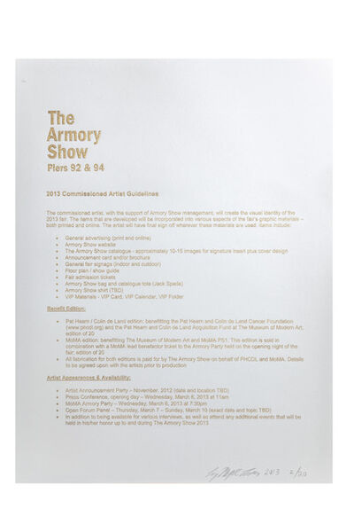 Liz Magic Laser, 'The Armory Show 2013 Commissioned Artist Guidelines', 2013