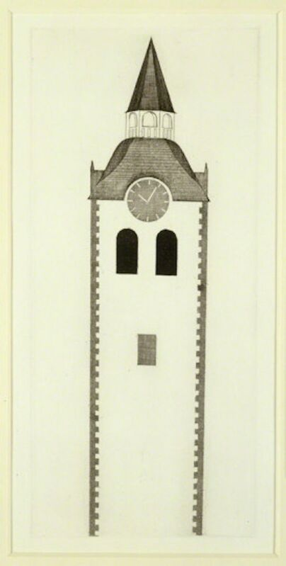 David Hockney, 'The Church Tower and the Clock from Illustrations for Six Fairy Tales from the Brothers Grimm', 1969, Print, Etching with drypoint and aquatint on Hodgkinson handmade wove paper, Grob Gallery