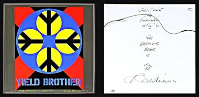 Robert Indiana, 'YIELD BROTHER, Signed Twice, Uniquely Inscribed with Original LOVE Drawing ', 1990