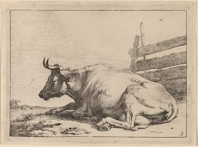 Paulus Potter, 'Cow Lying Down near a Fence', 1650
