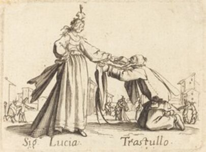 after Jacques Callot, 'Signa. Lucia and Trastullo'