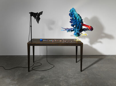 Nathalie Djurberg & Hans Berg, 'A Thief Caught in the Act (Blue with Magenta Beak)', 2015