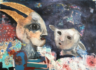 Ashley Benton, 'Acrylic Painting of Animal People connecting: 'But He's More Than Horns'', 2018