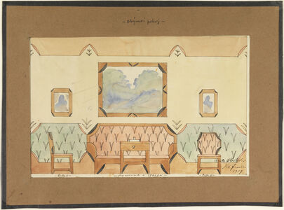 Vlastislav Hofman, 'Elevation Design for a Sitting Room with Sofa, Two Chairs, and Table', 1919
