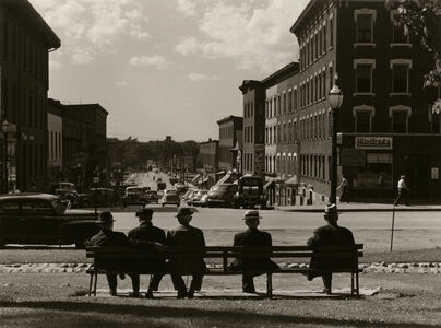Jack Delano, 'untitled (5 men on bench in front of Winifred's shop)', 1940-1949