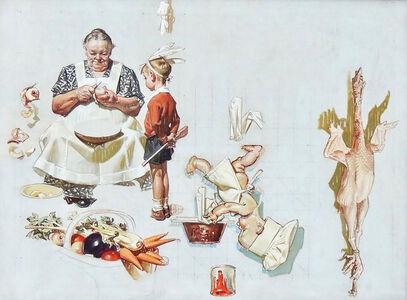Joseph Christian Leyendecker, 'Study for 'Trimming the Pie'', 1935