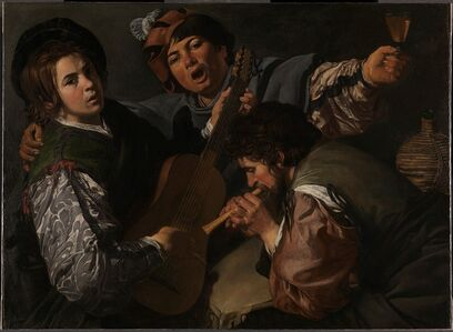 Valentin de Boulogne, 'A Concert with Three Figures', 1615-1616