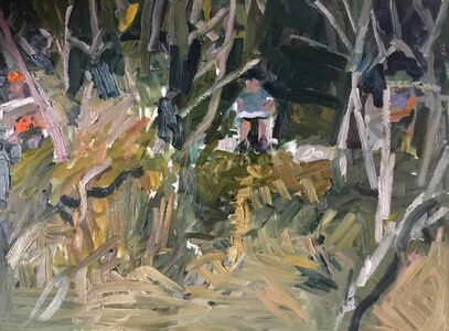 Matthew Collings, 'Three Painters Painting in Trees', 2018