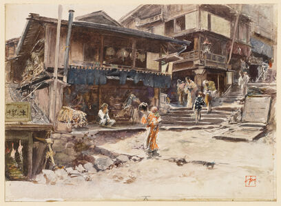 Robert Frederick Blum, 'A Street in Ikao, Japan, I', 1890