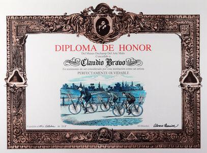 Álvaro Barrios, 'Diploma de Honor del Museo Duchamp del Arte Malo concedido a Claudio Bravo en testimonio de ser considerado por esta institución como un artista perfectamente olvidable', 2011