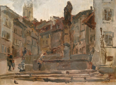 Isaac Israels, 'Fontaine St. Anne, Fribourg (Switzerland)'