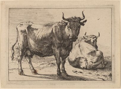 Paulus Potter, 'A Cow Standing and Another Lying Down', 1650