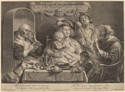Schelte Adams Bolswert after Jacob Jordaens, 'The Family Concert (As the old sing, so the young twitter)'