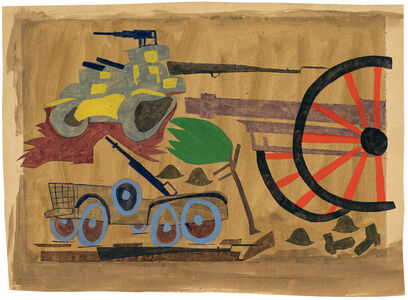 William Henry Johnson, 'Untitled (War Scene with Artillery, Jeep and Tank)', ca. 1943