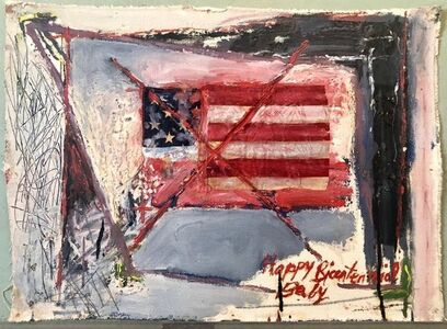 Katherine Porter, 'Abstract Expressionist Happy Bicentennial Baby, American Flag Collage Painting', 20th Century