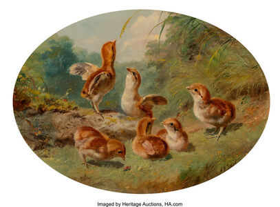 Arthur Fitzwilliam Tait, 'Ruffed Grouse Chicks', 1860