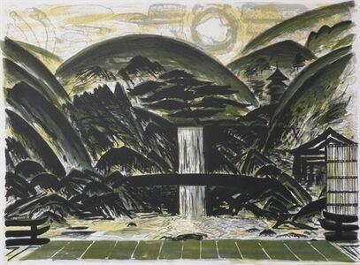 John Houston, 'Temple Garden with Waterfall and Pagoda', 1991
