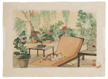 Chiura Obata, 'Cat lounging in garden'
