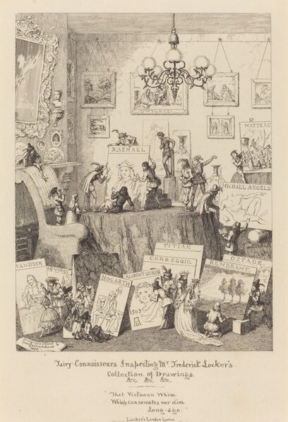 George Cruikshank, 'Fairy Connoisseurs Inspecting Mr. Frederick Locker's Collection of Drawings', 1868