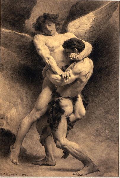 Léon Bonnat, 'Jacob Wrestling the Angel ', 1876