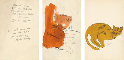 Andy Warhol, '25 Cats Name(d) Sam and One Blue (Pussy) book: two plates and colophon page', 1954
