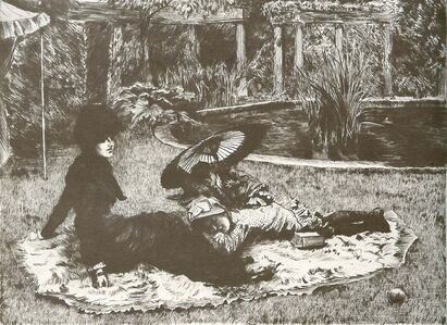 James Jacques-Joseph Tissot, 'Sur L'Herbe', 1880