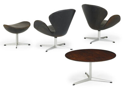 Arne Jacobsen, 'Pair of Swan chairs, ottoman, and coffee table, Denmark', 1960s