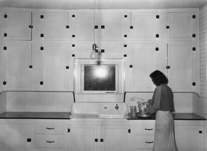 Russell Lee, 'Kitchen of tenant purchase client; Hidalgo County, Texas (Farm Security Administration)', 1939