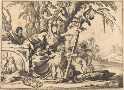 Laurent de La Hyre, 'Holy Family with Angels and the Cross, Crushing a Serpent', 1639
