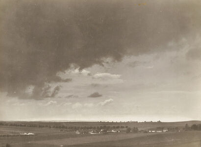 Emil Otto Hoppé, 'Base of Cumulus Cloud Over English Countryside with Train'