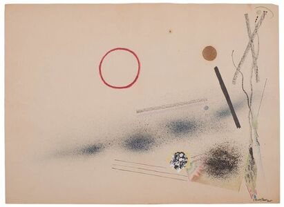 Rudolf Bauer, 'Untitled (Red Circle and Lines)'