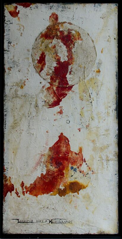 George Herms, 'Larkspur does a hemorrage', ca. 1960, Painting, Oil on paper, The Art Collection of the University of Agder