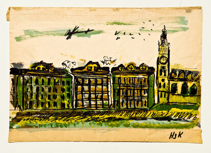 Hans Krüsi, 'Untitled (Plane and Birds Over City)', n.d.