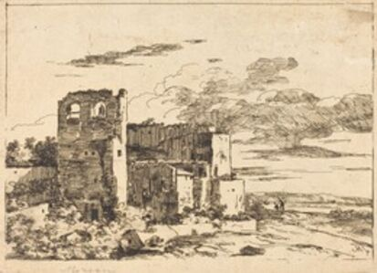 Louis Gabriel Moreau (Louis-Gabriel Moreau, called Moreau l'Ainé), 'Ruined Buildings near a River Bank'
