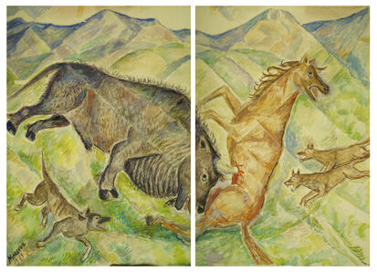 Marie Vorobieff Marevna, 'Horse being impaled by a boar's tusk, diptych'