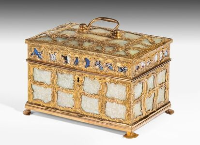 James Cox, 'George III 'Aventurine' and Mother of Pearl Ormolu Tea Caddy Attributed to James Cox (c.1723–1800): Goldsmith and Entrepreneur', ca. 1770