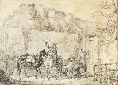 Carle Vernet, 'A Family at a Roadside Shrine with their Infant Child', 1834