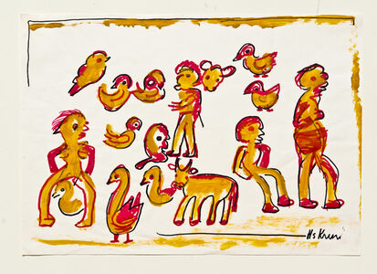 Hans Krüsi, 'Untitled (Red and Yellow Humans, Cows, and Chickens)', 1984